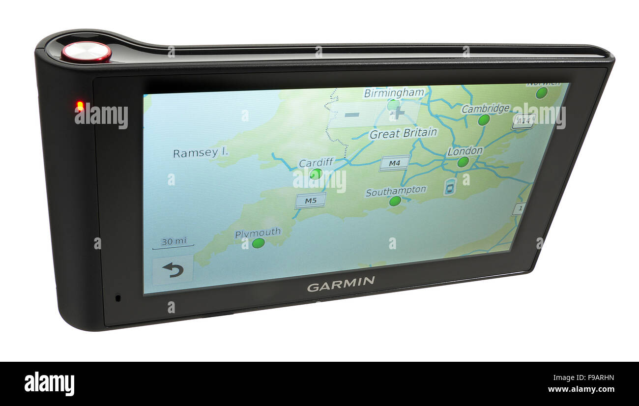 Garmin Nuvi. Vehicle based GPS satellite navigation. Also gives spoken directions and has a built in dash cam. - Stock Image