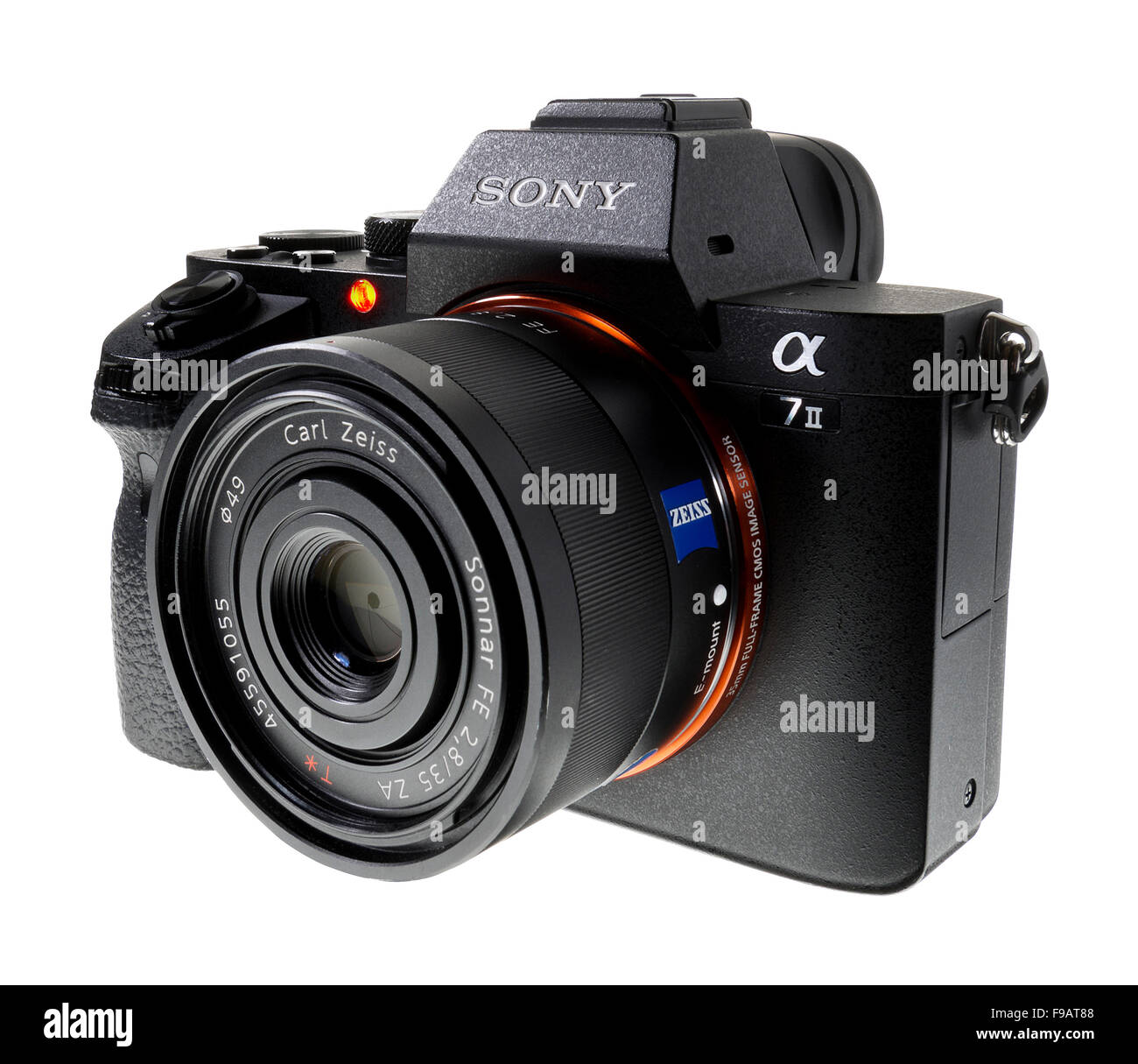 Sony Alpha 7 II digital SLR camera with Carl Zeiss lens. - Stock Image