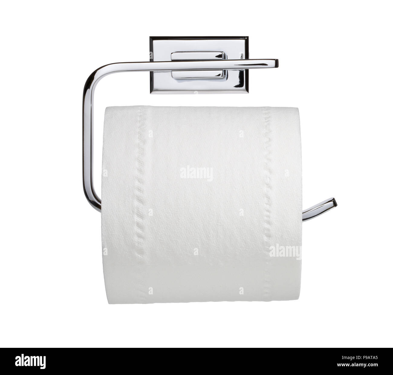 Toilet roll and chrome holder. Stock Photo