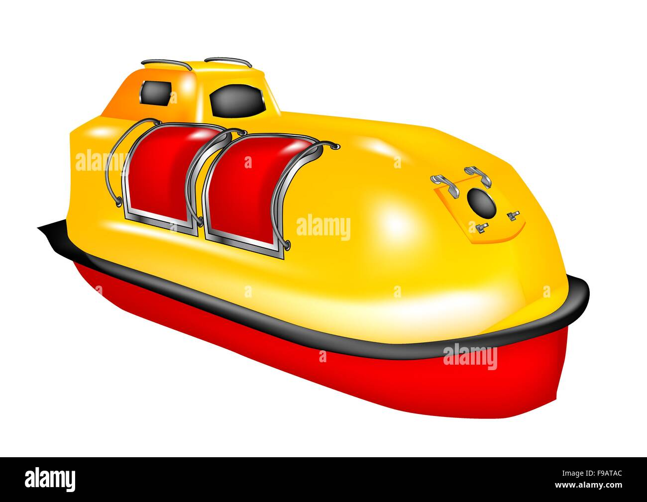 lifeboat of the ship on white background - Stock Vector