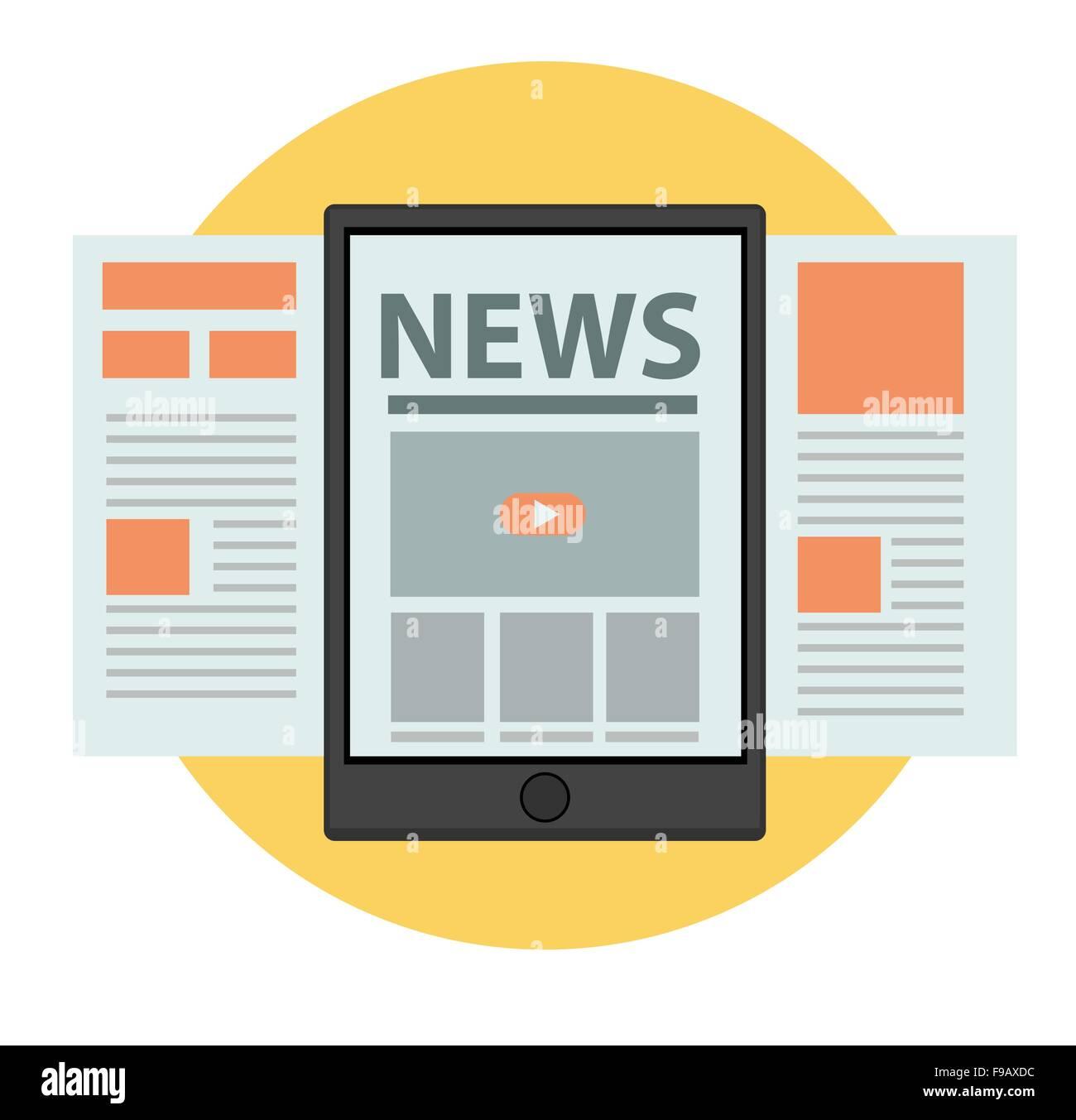 News online Business concept vector design - Stock Image