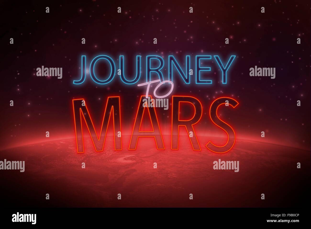 interplanetary journey to mars (space exploration) - Stock Image