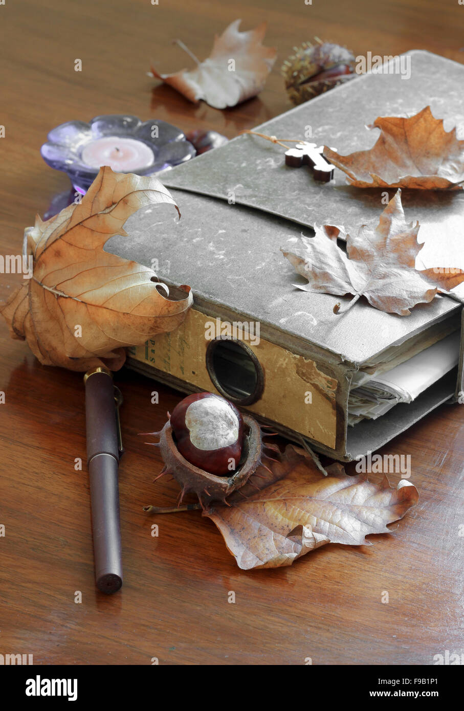 Folder with old documents - Stock Image