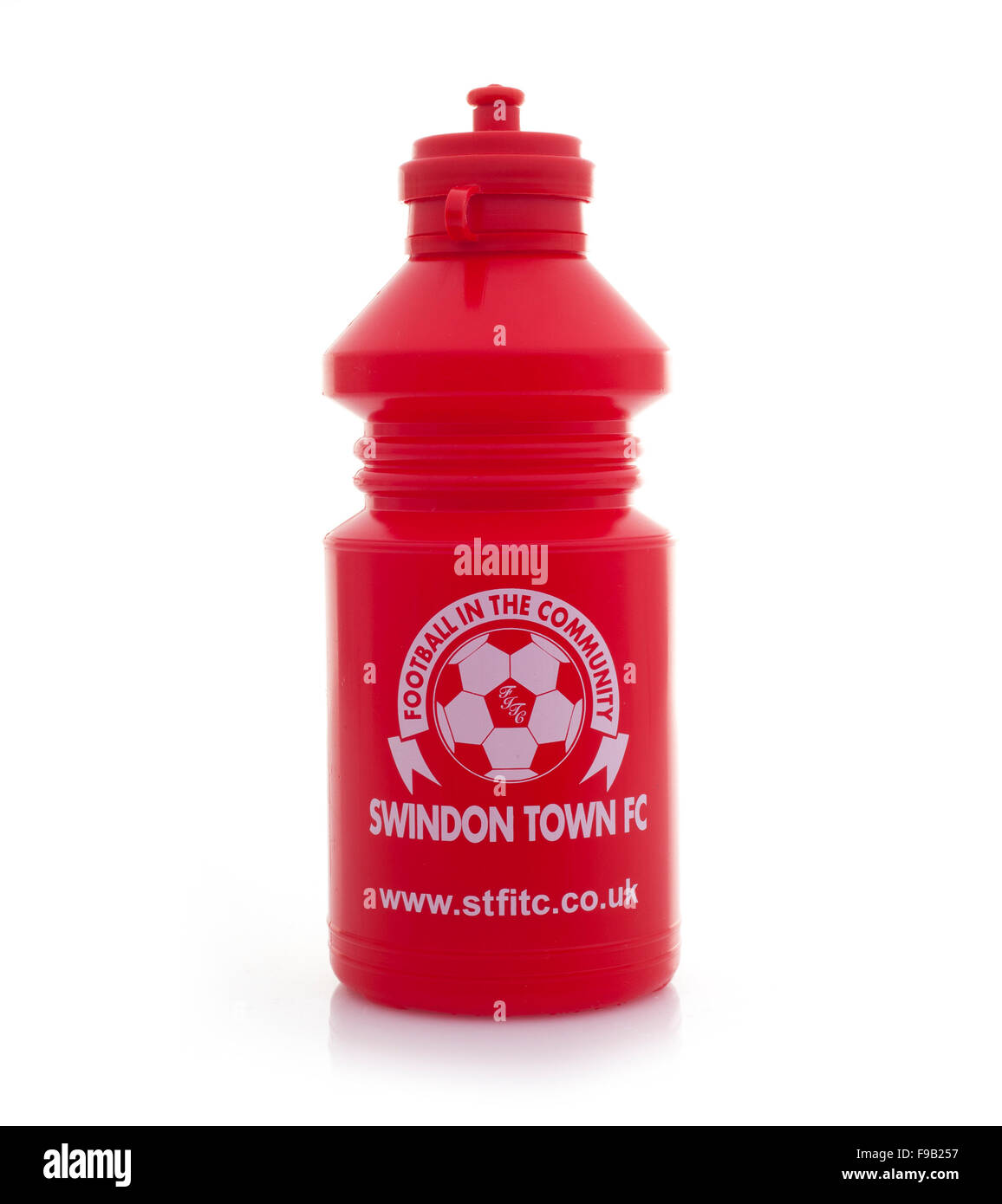 Swindon Town Football Club Drinks Bottle in Red on a White Background - Stock Image
