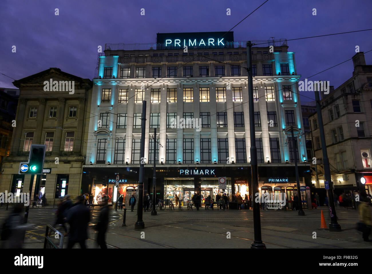 Primark in Piccadilly, Manchester at night. - Stock Image