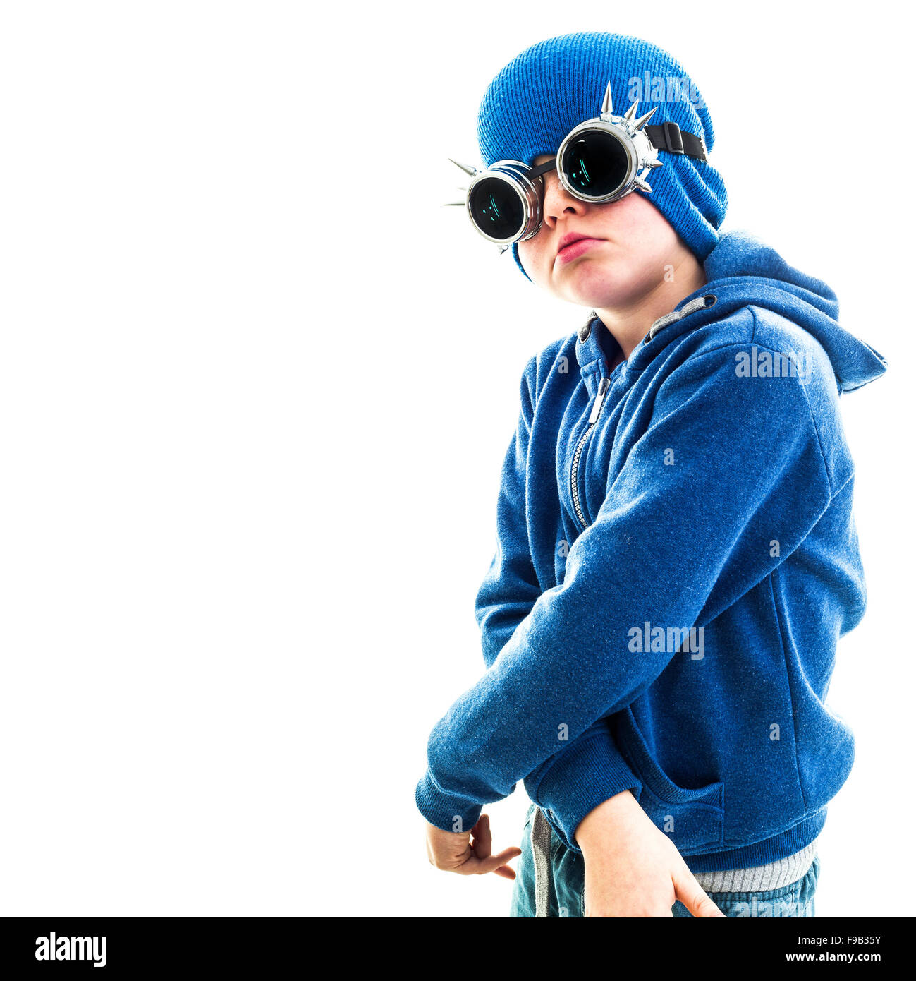 Young Boy Dresses As Hip Dude - Stock Image