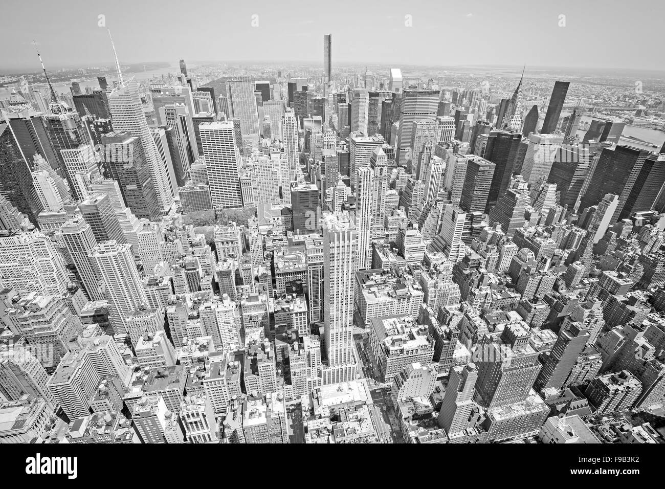 Black and white toned aerial view of Manhattan, New York City, USA. - Stock Image
