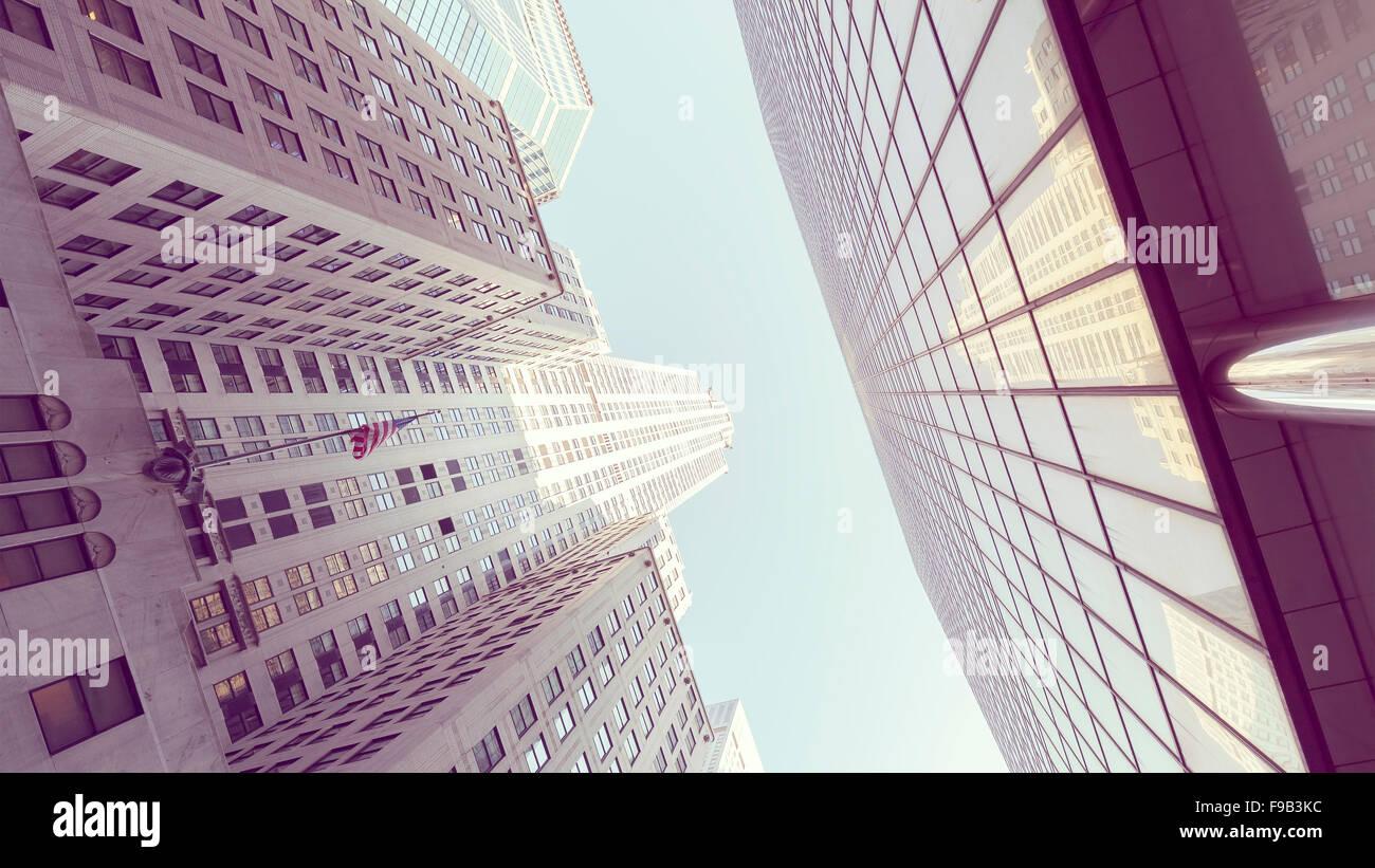 Retro stylized photo of skyscrapers in Manhattan, New York City, USA. - Stock Image