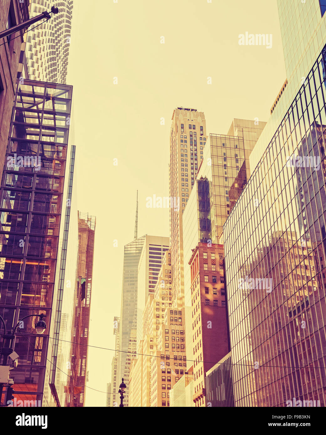 Vintage stylized photo of skyscrapers in Manhattan, New York City, USA. - Stock Image