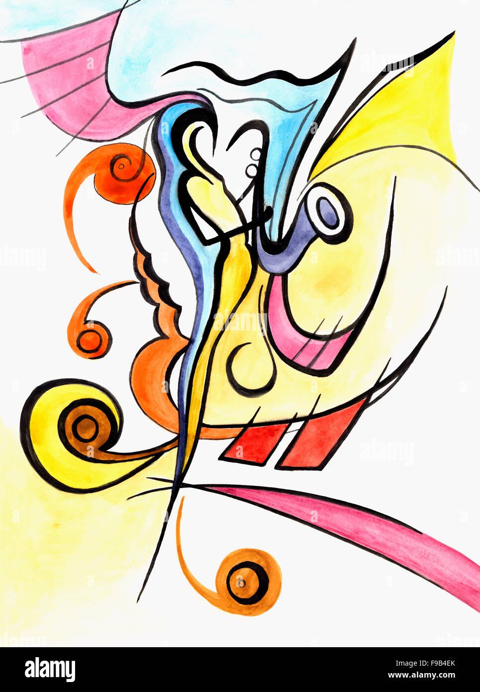 Abstract Artwork With Different Shapes And Lines Stock Photo