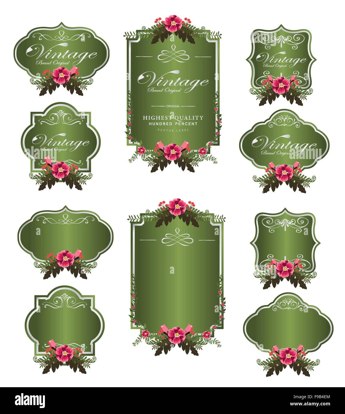 green luxury invitation flower labels and blank labels - Stock Image
