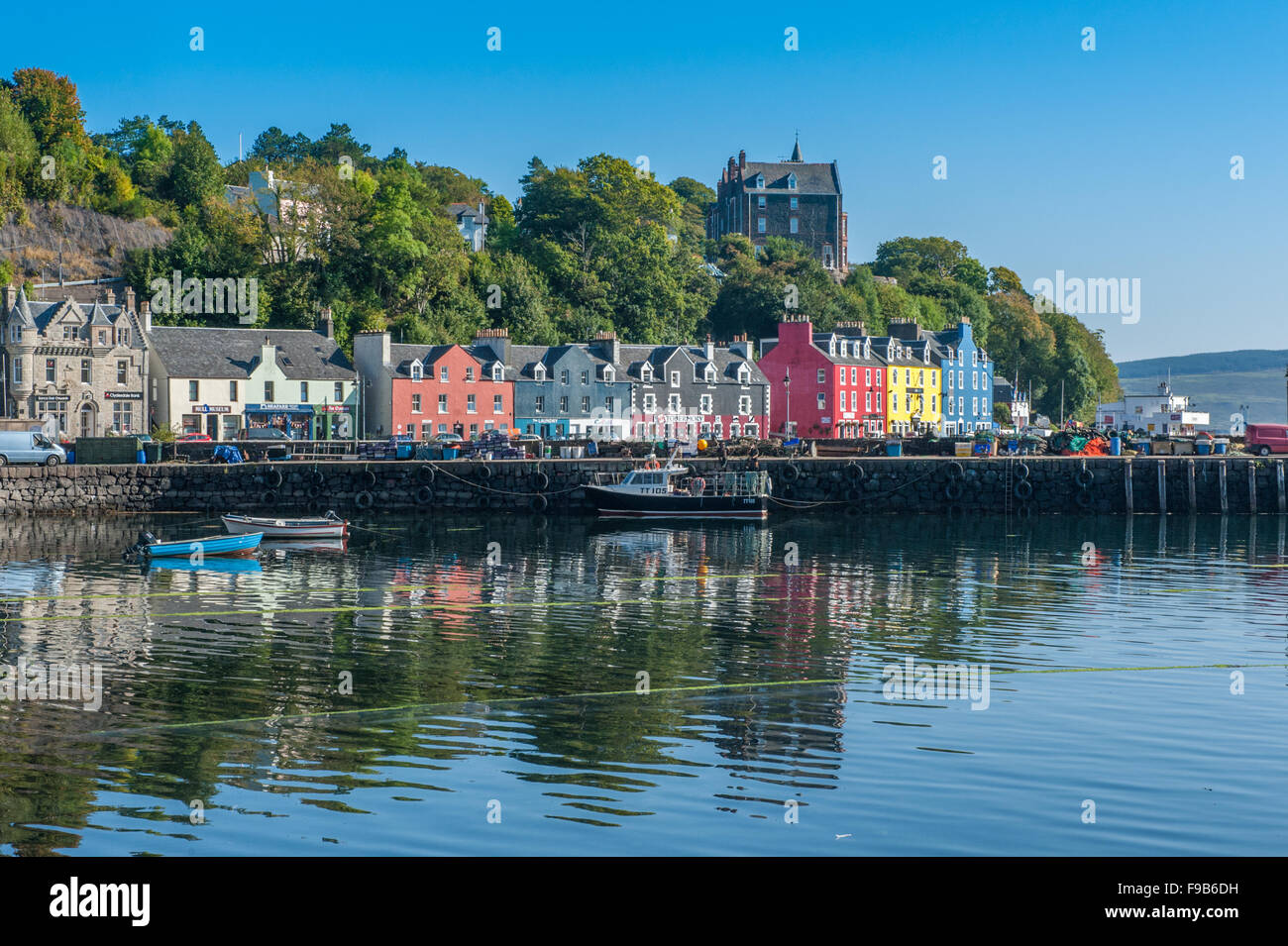 Tobermory harbour Isle of Mull - Stock Image