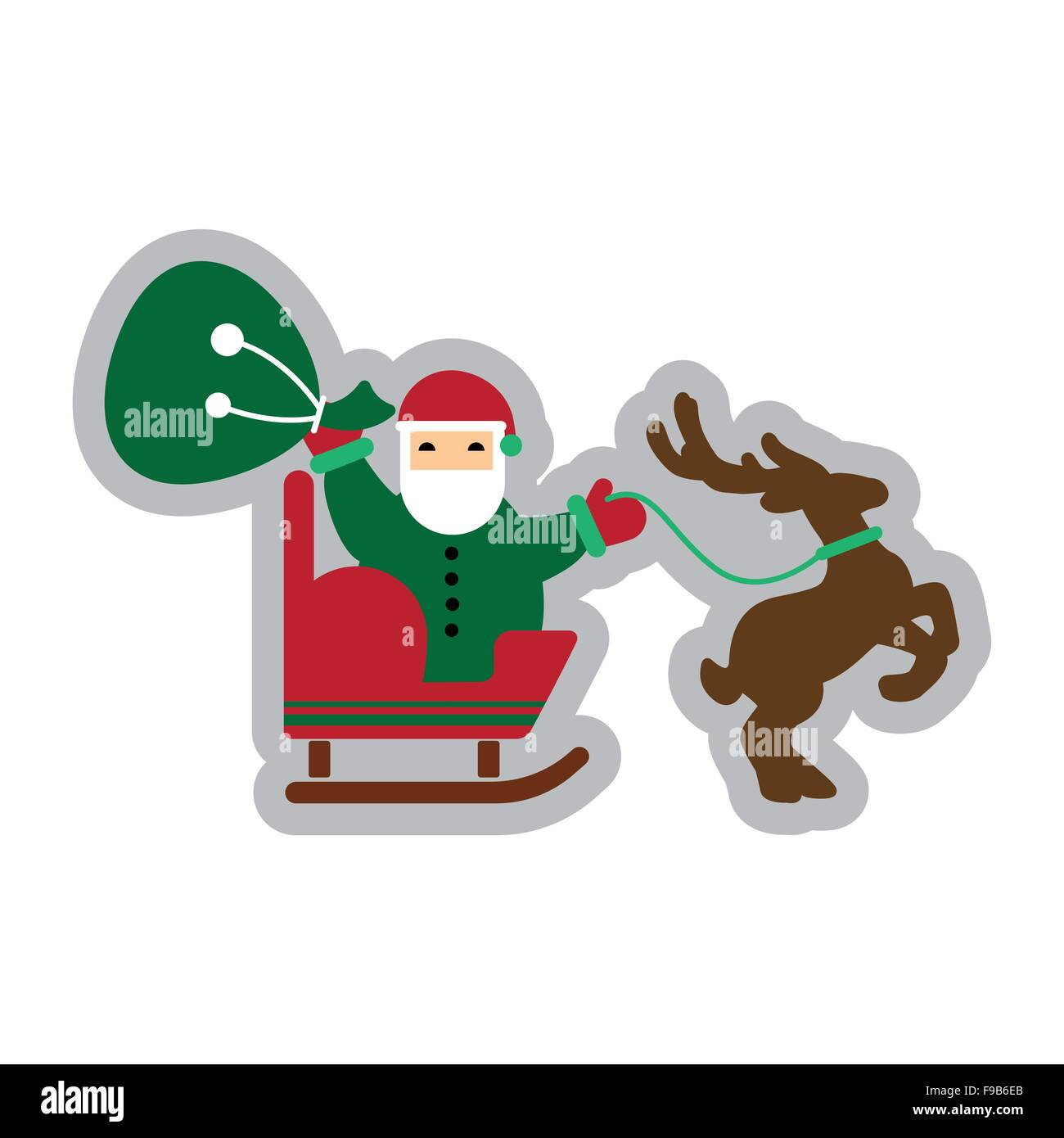 flat icon with long shadow Santa Claus in sleigh reindeer - Stock Image
