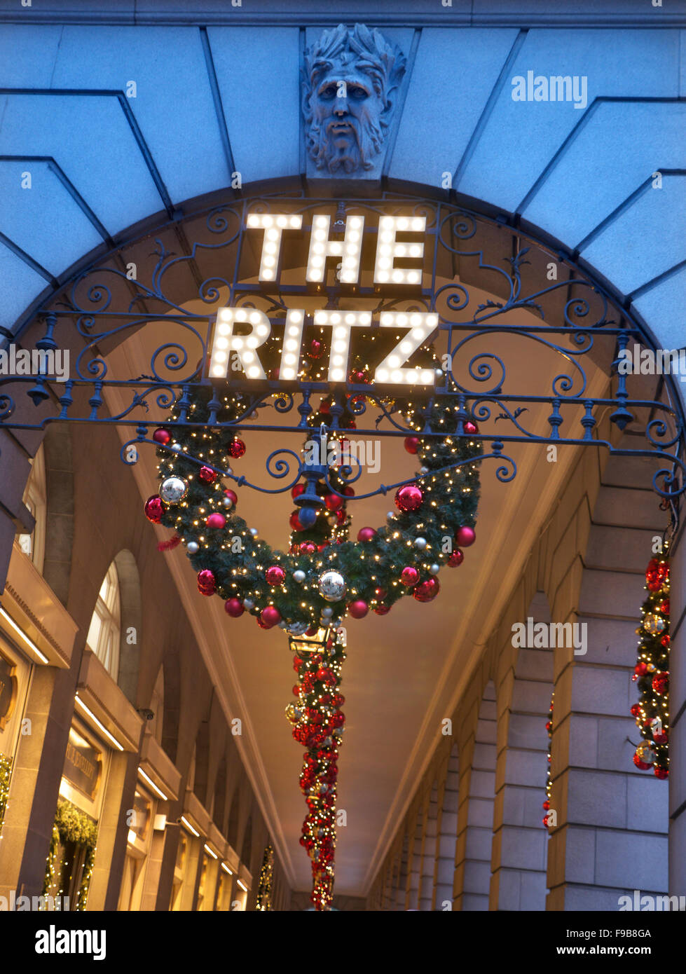 The Ritz Hotel London Piccadilly with traditional decorations at Christmas London UK - Stock Image