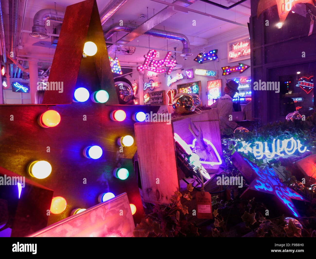 'Gods Own Junkyard' pop-up @ Lights of Soho, 35 Brewer Street, Soho, a unique designer neon lights shop - Stock Image