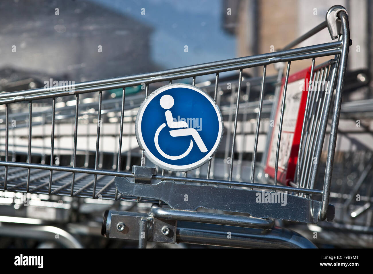 DISABLED SHOPPING TROLLEY - Stock Image