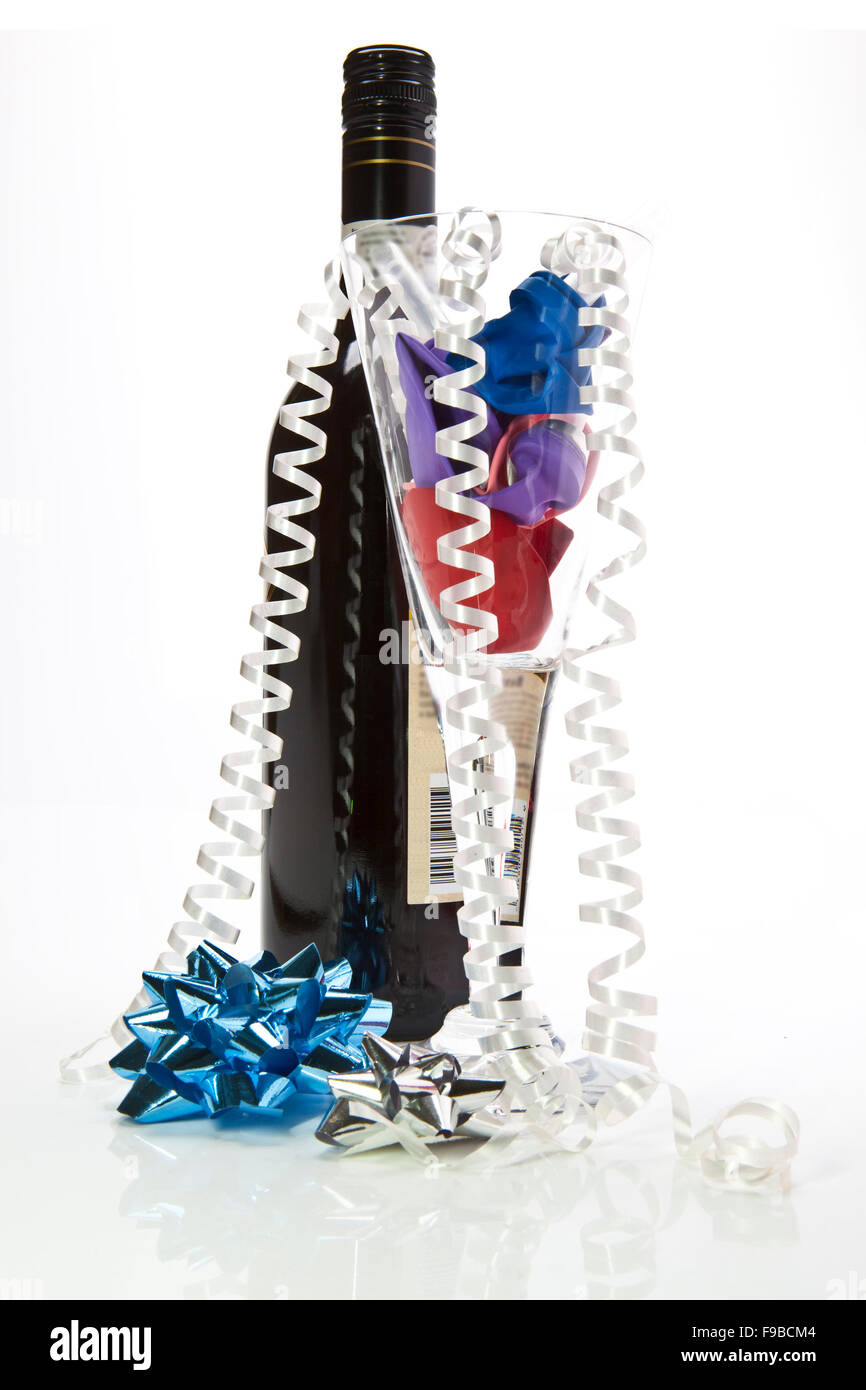 Party Time fun with bows wine and champagne glass - Stock Image