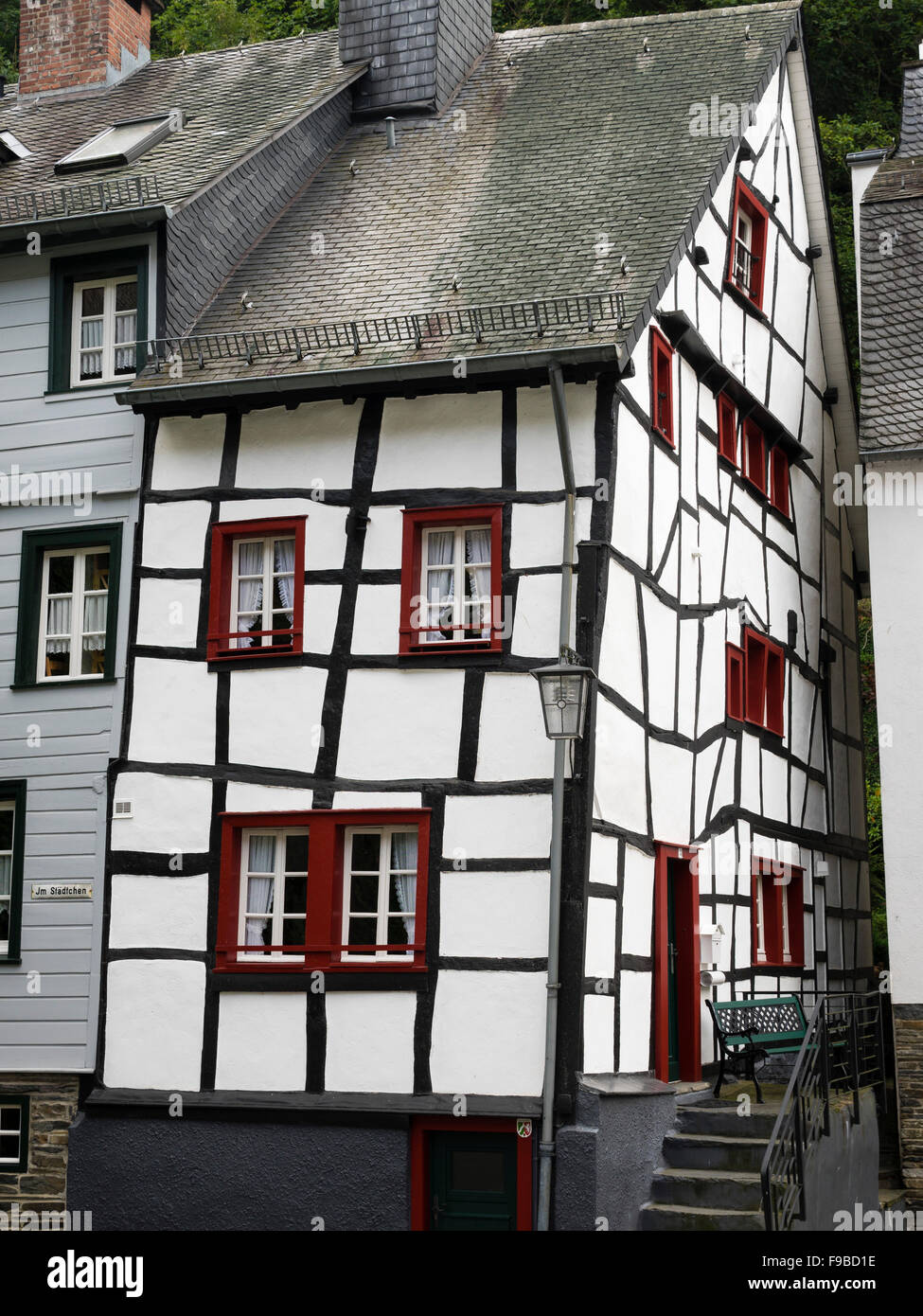 An old half-timbered house in the town of Monschau / Eifel region / Germany. - Stock Image