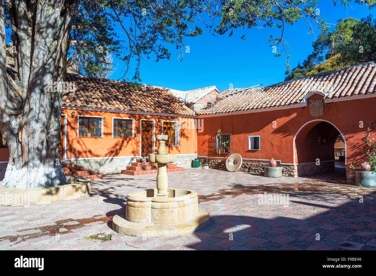 Fountain and courtyard in a hacienda near Potosi, Bolivia - Stock Image