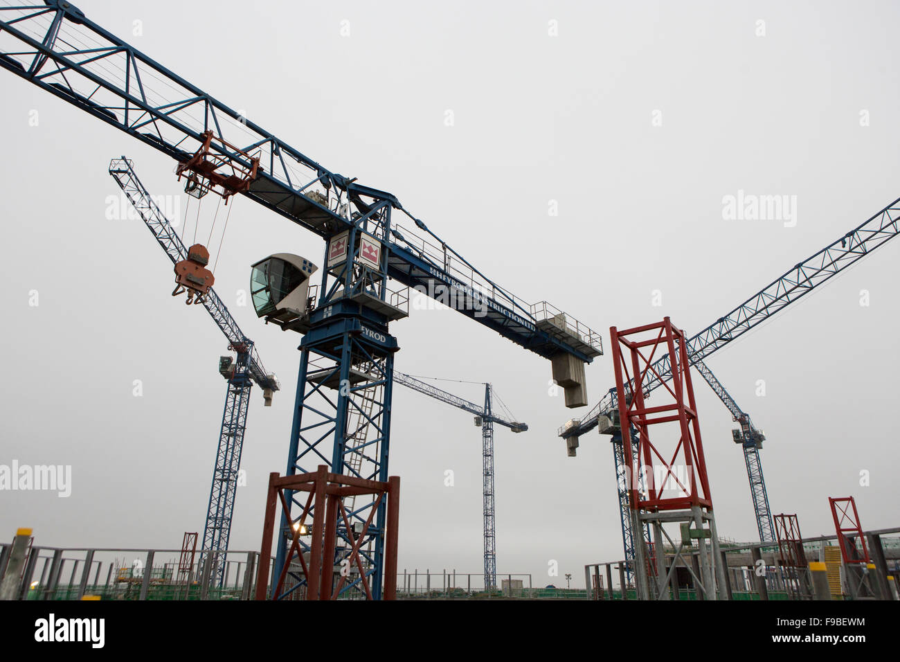 Construction Tower Cranes in Liverpool , UK - Stock Image