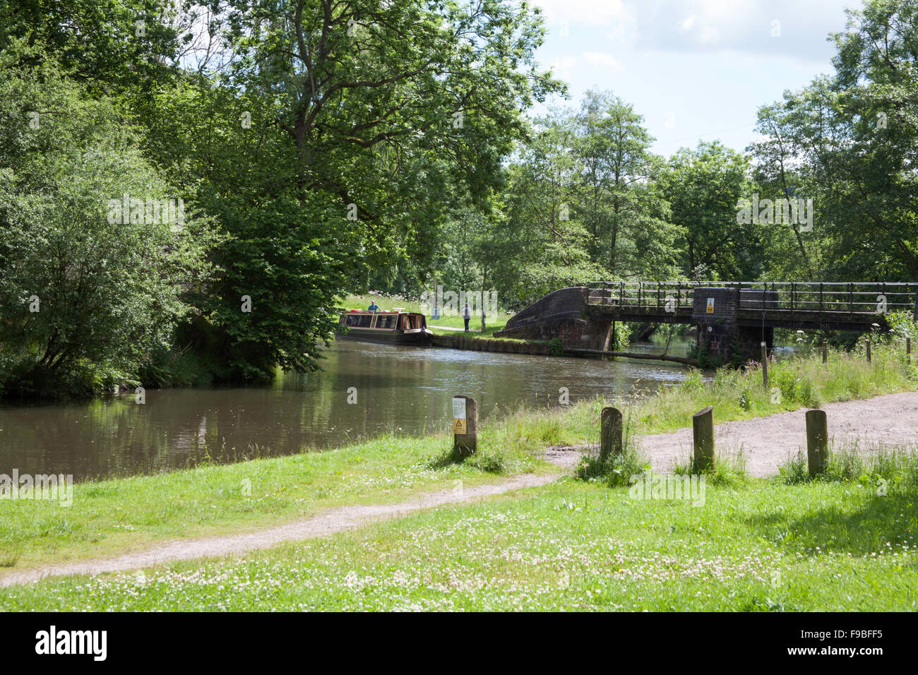 The Caldon Canal near the junction with the River Churnet at Consall in the Churnet Valley Staffordshire England - Stock Image