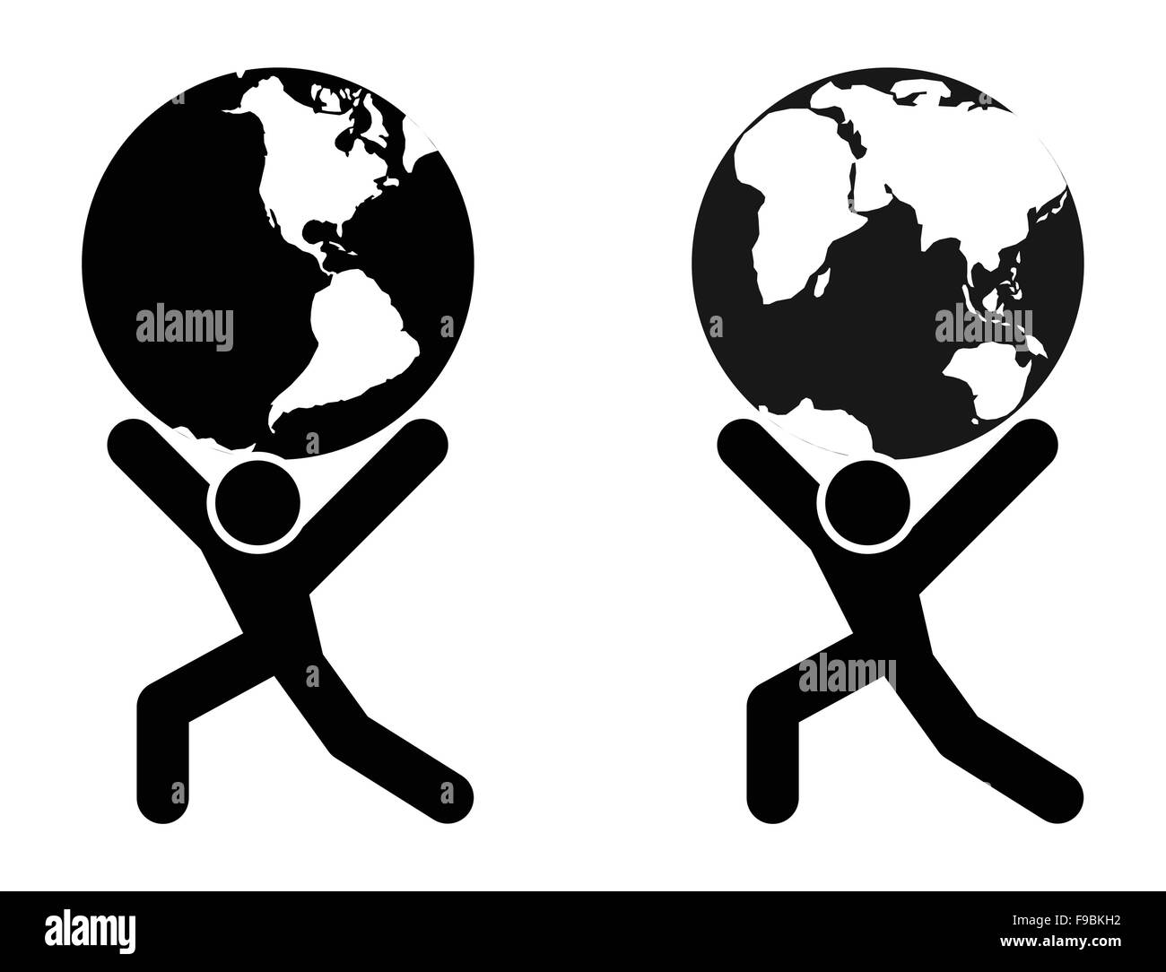Abstract man silhouette holding earth globe on shoulders illustration. - Stock Image