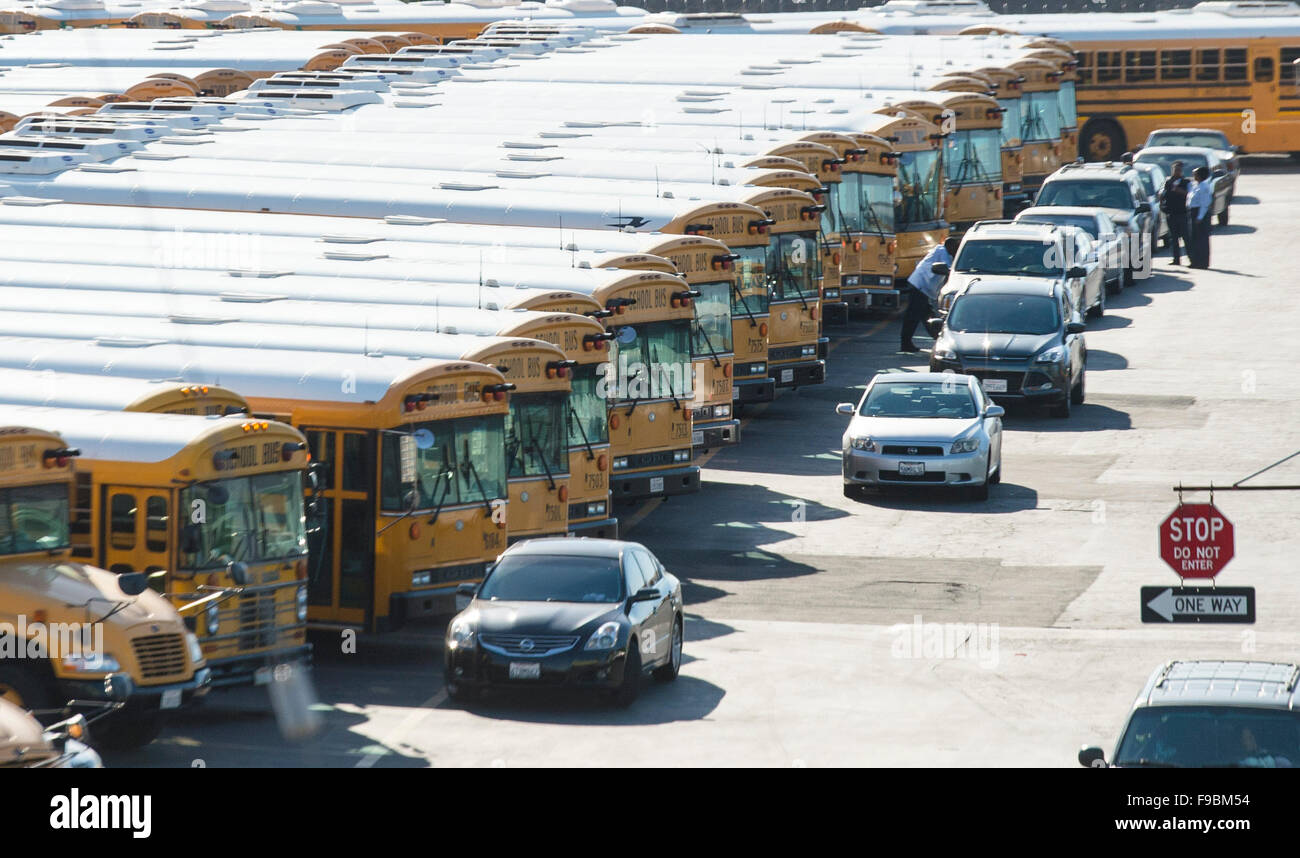 Los Angeles, California, USA. 15th December, 2015. School buses are parked at Los Angeles Unified School District - Stock Image