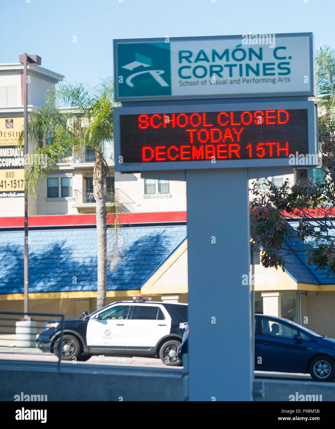 Los Angeles, California, USA. 15th December, 2015. Photo taken on Dec. 15, 2015 shows a sign in front of the Ramon - Stock Image
