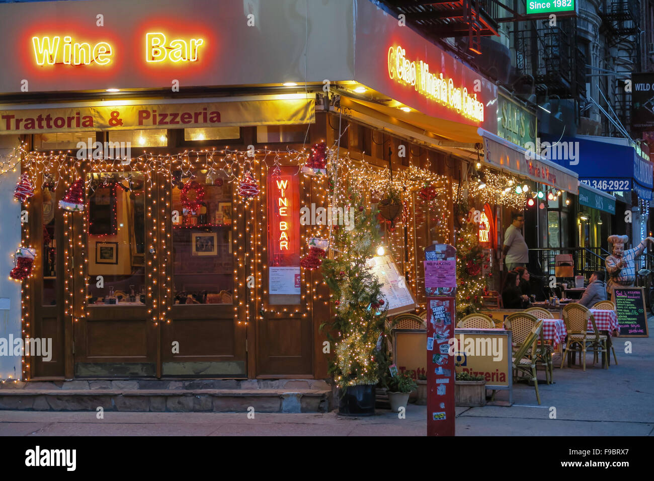 Little Christmas Italy.Holiday Season On Mulberry Street In Little Italy Nyc Stock