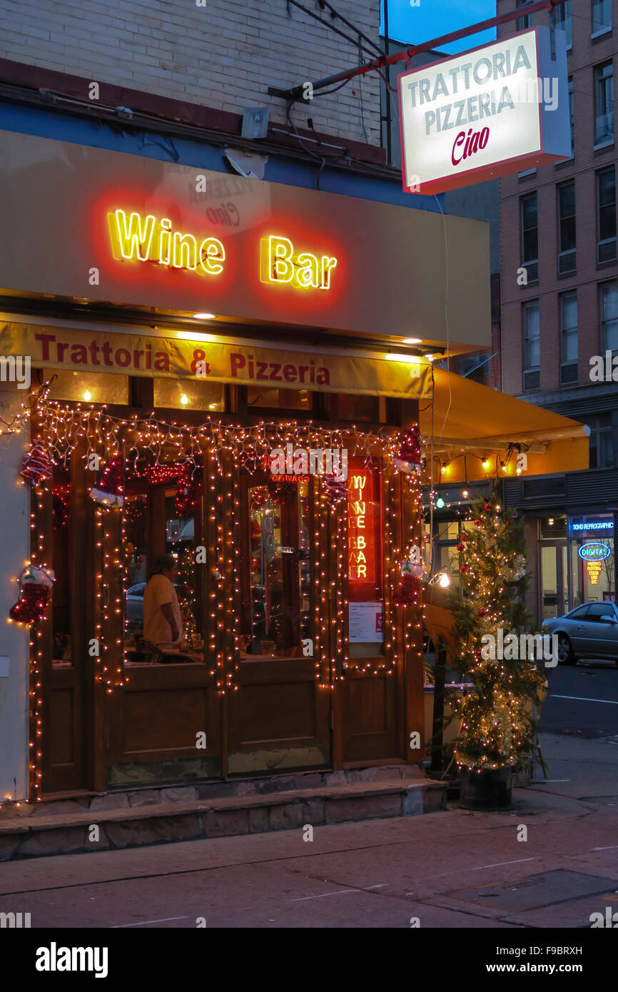 Holiday Season on Mulberry Street in Little Italy NYC - Stock Image & America American Outside Outdoors Outdoor Exterior Lighting Lit ...