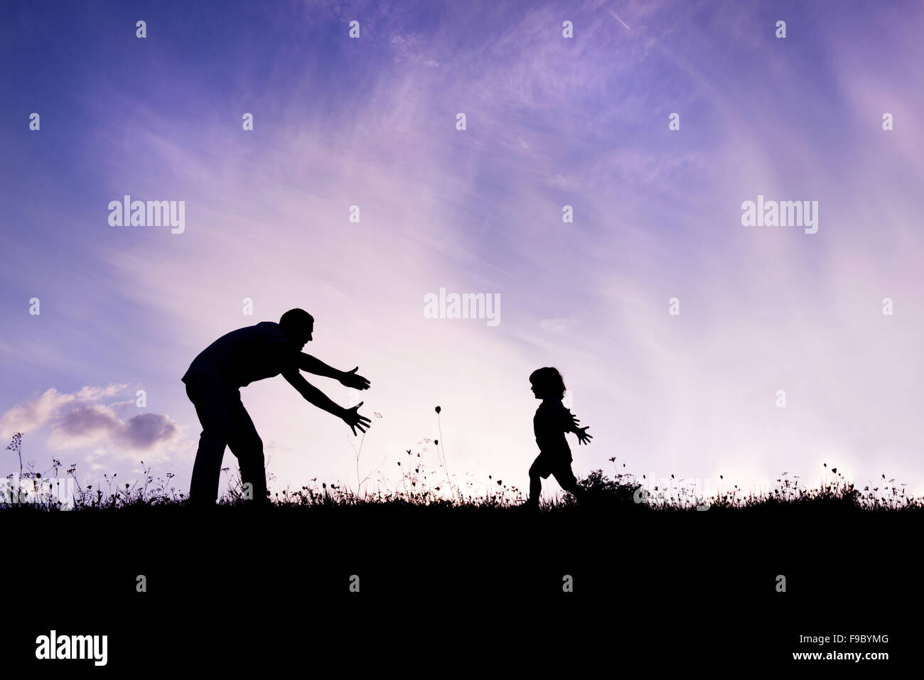 Silhouette of happy father having fun with his son Stock Photo