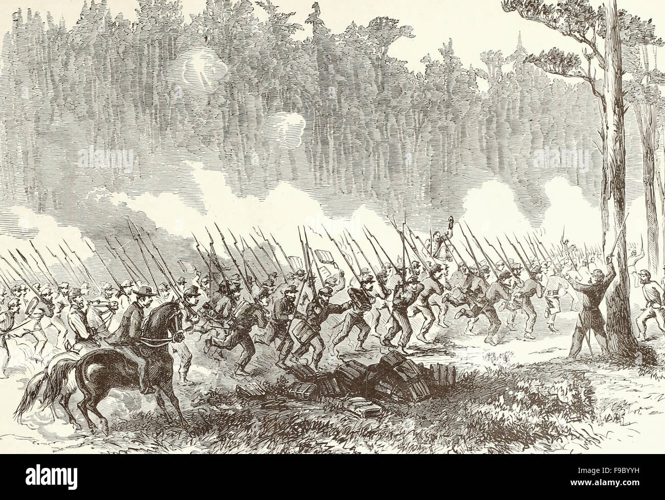 Battle of Charles City Road - Charge of the Jersey Brigade - The First New Jersey Brigade , General Taylor, Detatching - Stock Image