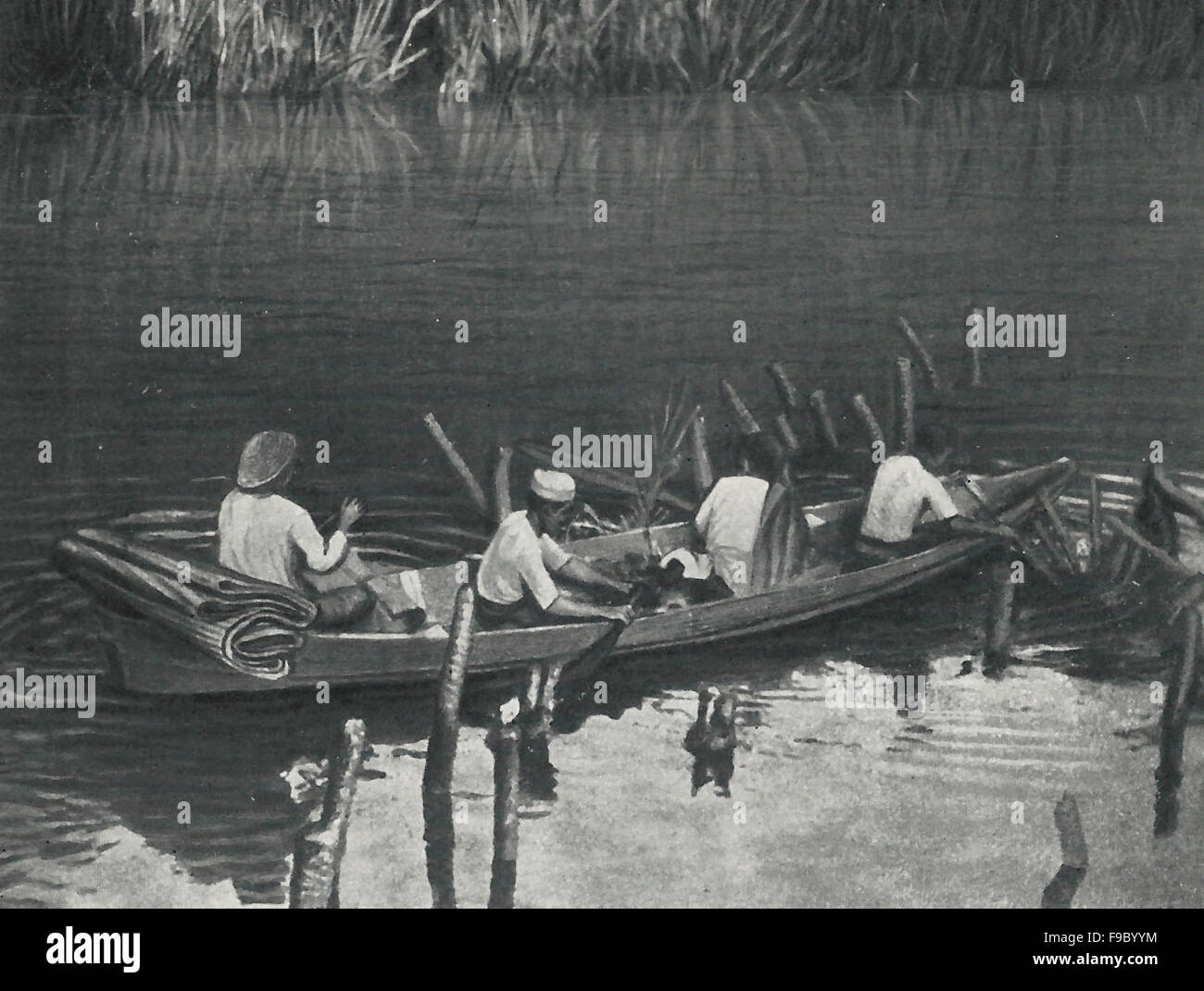 Tied up in the Jungle Stream for the noon meal, Siam, circa 1900 - Stock Image