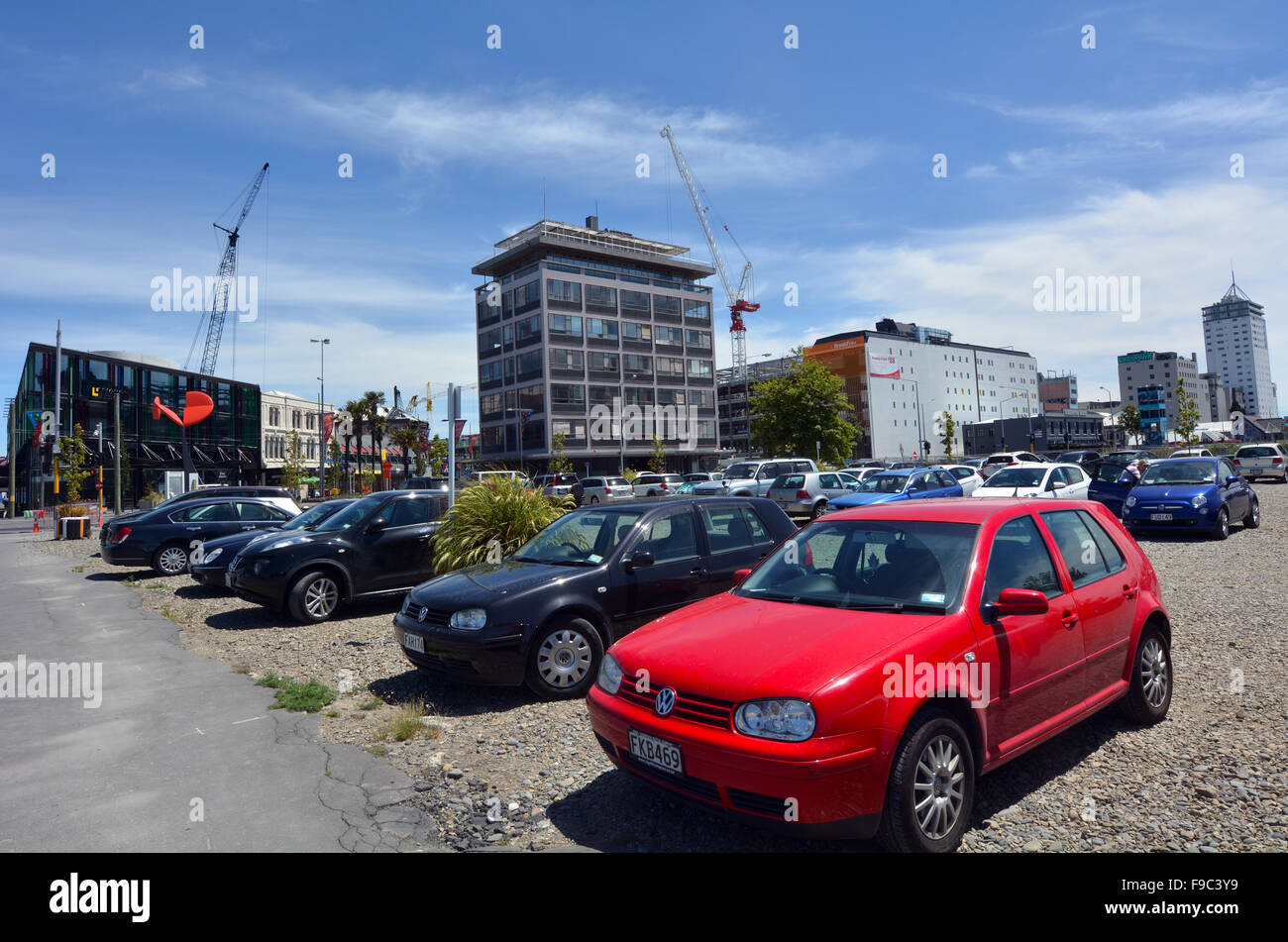 CHRISTCHURCH,  NZL - DEC 04 2015:Many cars in a parking lot in Christchurch downtown.  Since the Canterbury earthquakes - Stock Image