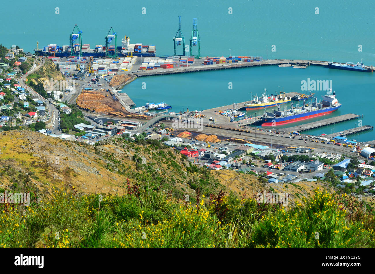LYTTELTON - DEC 04 2015:Aerial view of Lyttelton Port of Christchurch. It's the primary port for energy shipments - Stock Image