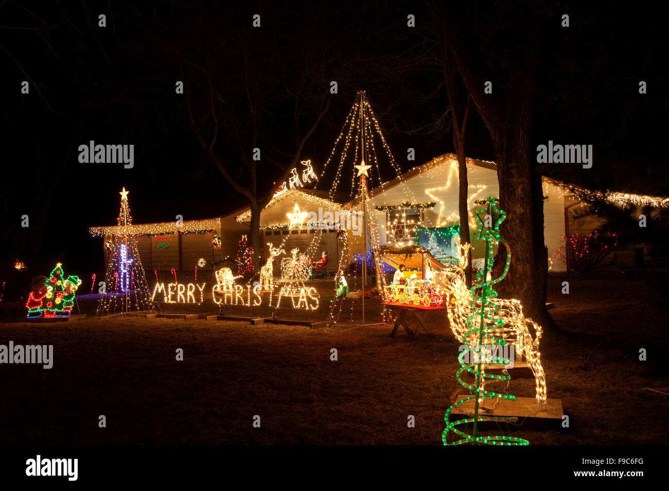 evening outdoor home display of christmas lights st paul minnesota mn usa