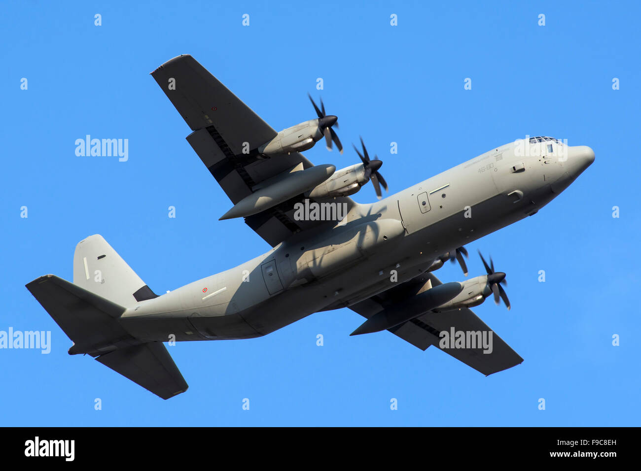 An Italian Air Force C-130J-30 during takeoff from Verona airport, Italy. - Stock Image