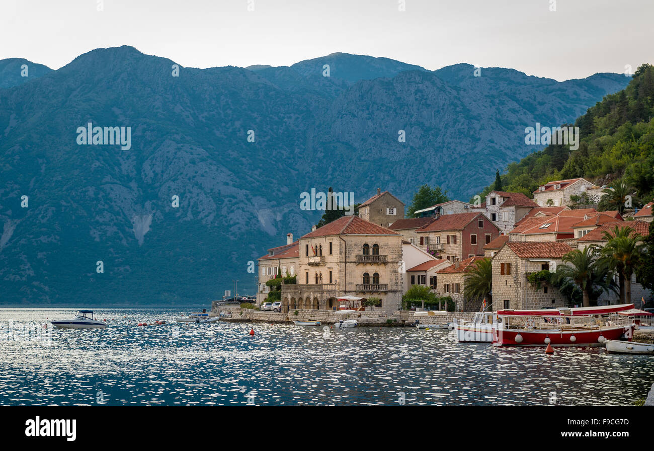 Perast old village in the Bay of Kotor - Stock Image