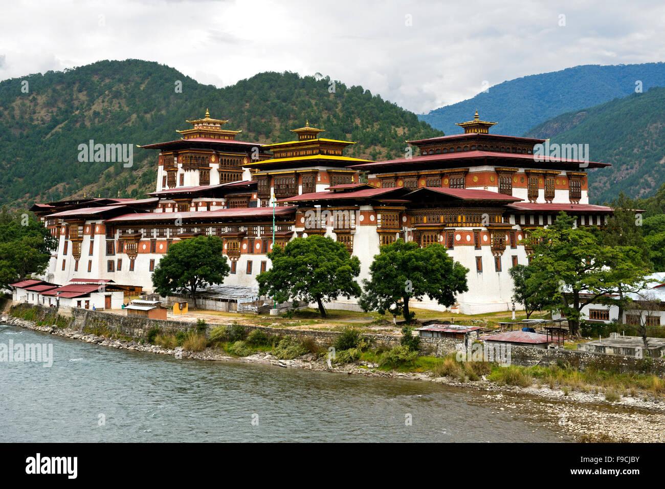 Monastery and fortress Punakha Dzong, Punakah, Bhutan - Stock Image