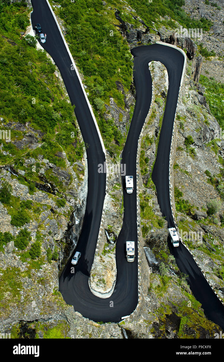 Double hairpin bends of the Trollstigen mountain road near Andalsnes, Rauma Municipality, Møre og Romsdal county, - Stock Image