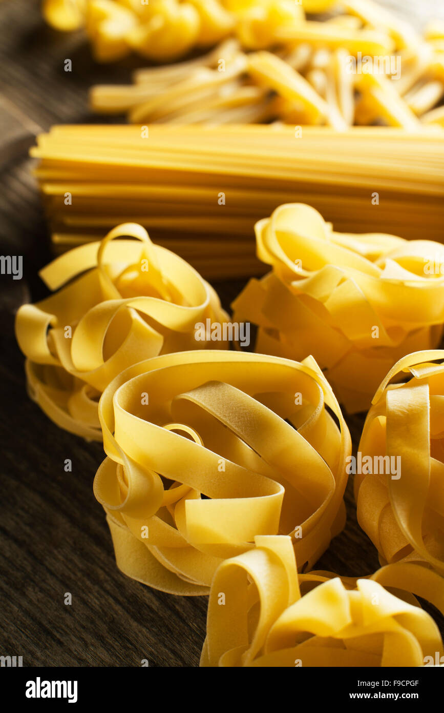 Mixed dry Pasta collection background close up. - Stock Image