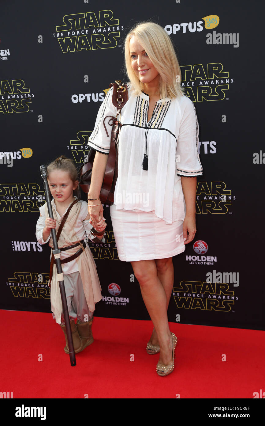 """Jackie O and daughter Catalina """"Kitty"""" Mae Henderson arrive on the red carpet for the Sydney Premiere of Star Wars: The Force Awakens at Hoyts Entertainment ..."""
