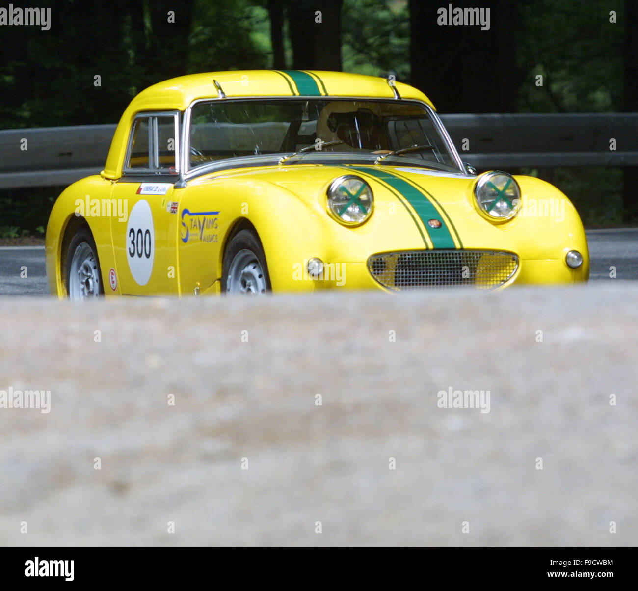 Austin Sprite Mini in Action - Stock Image