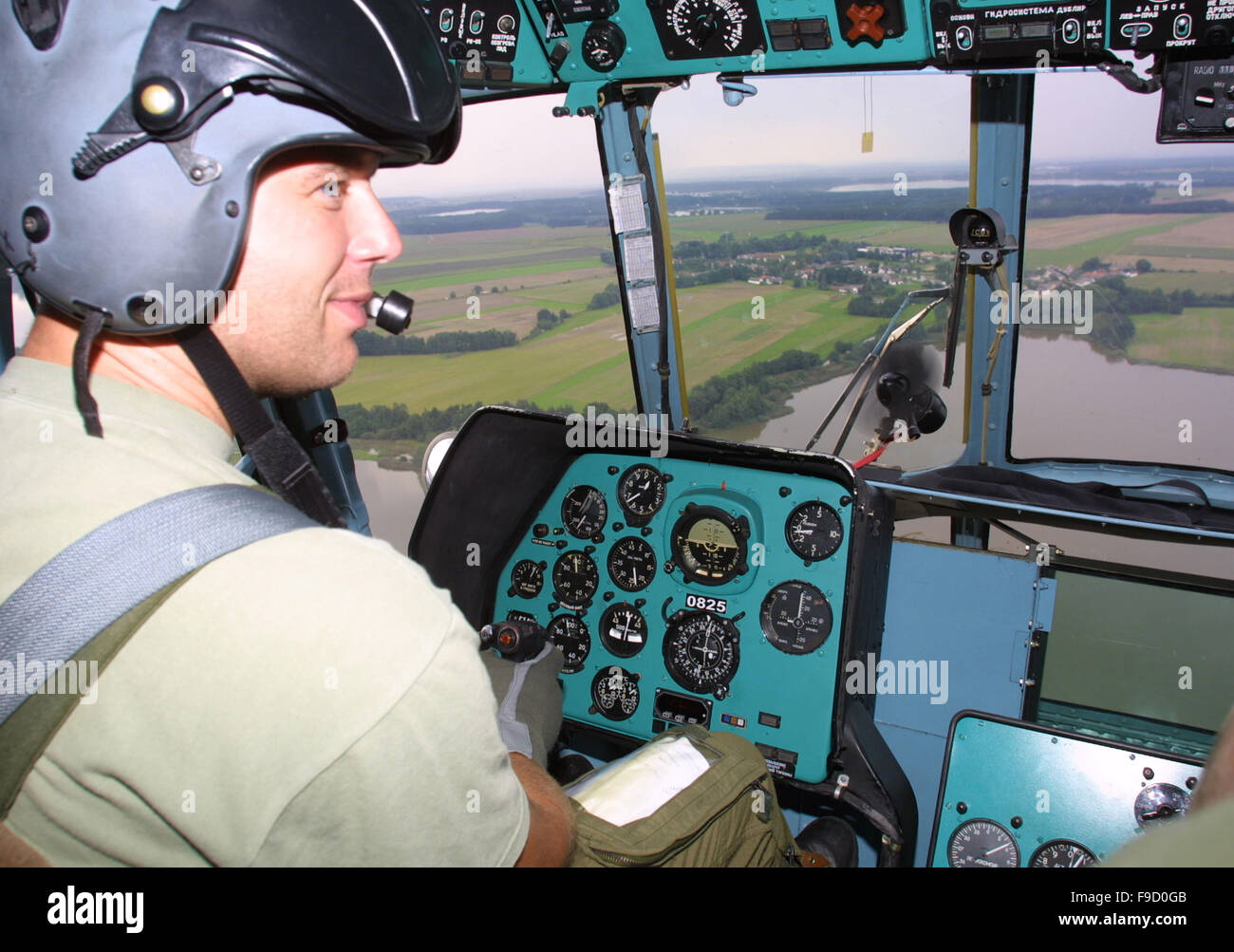 In The Helicopter Cockpit - Stock Image