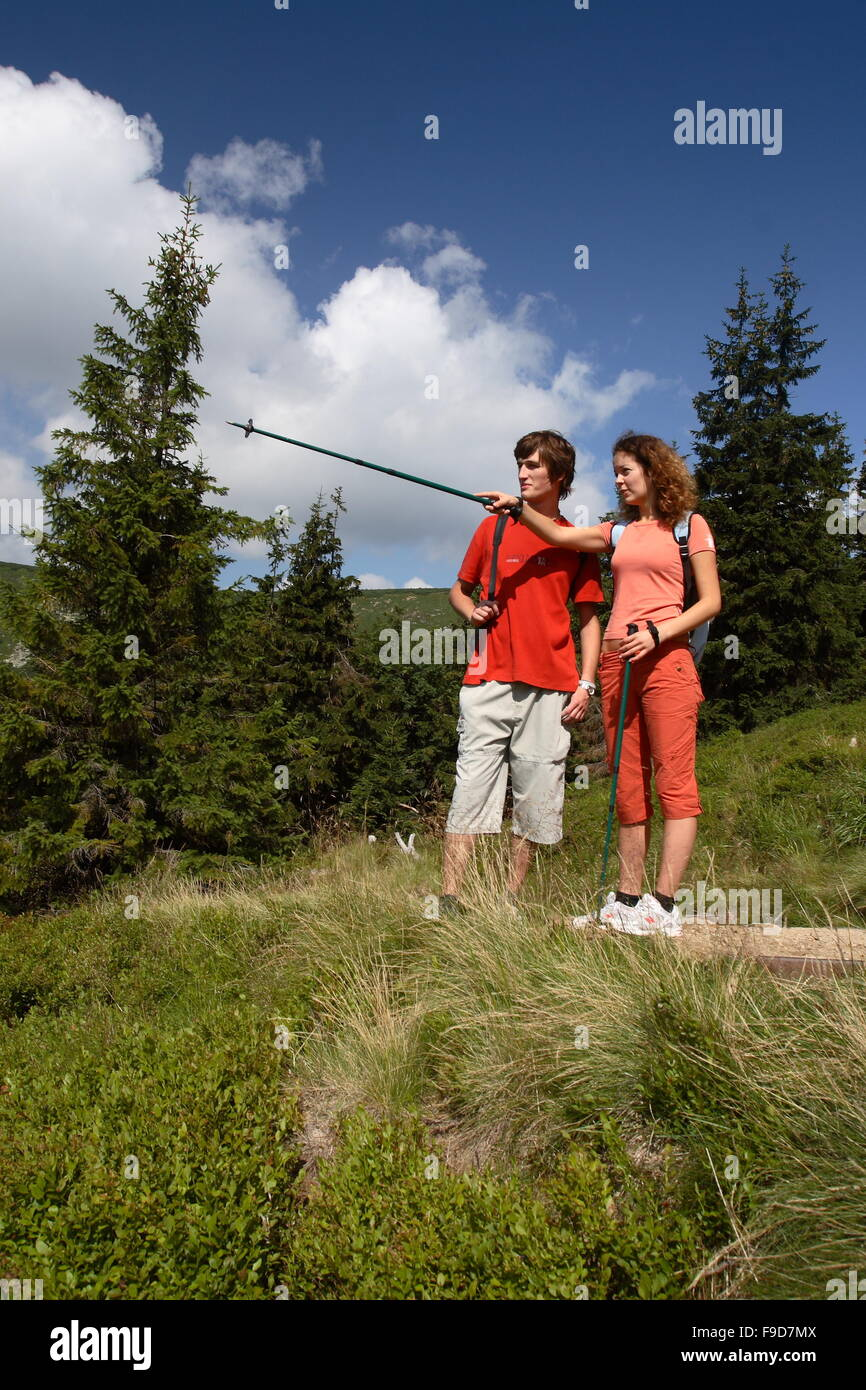 Tourists in Thr Giant Mountains - Stock Image