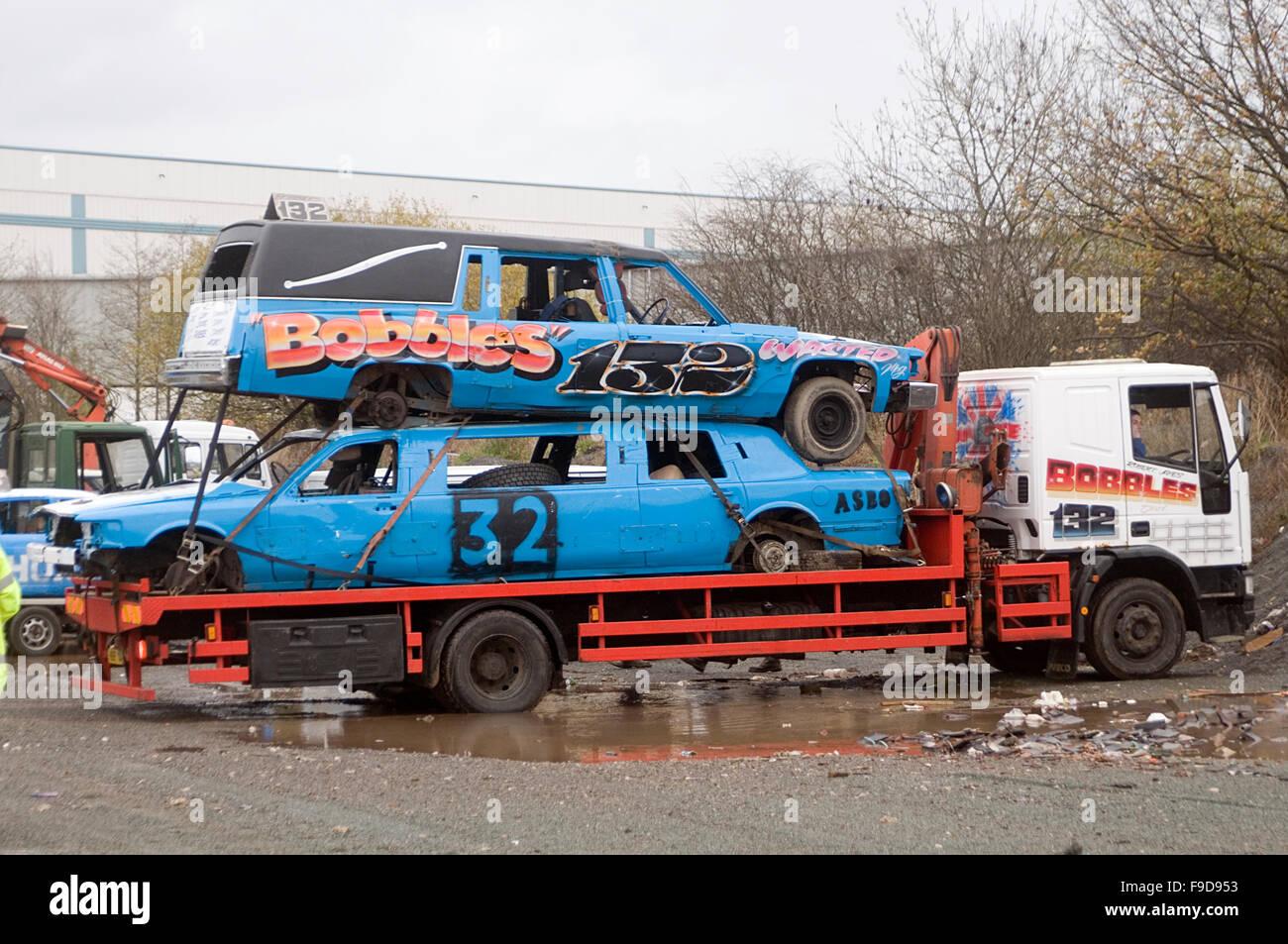 demolition destruction derby derbies cars arriving at track banger ...