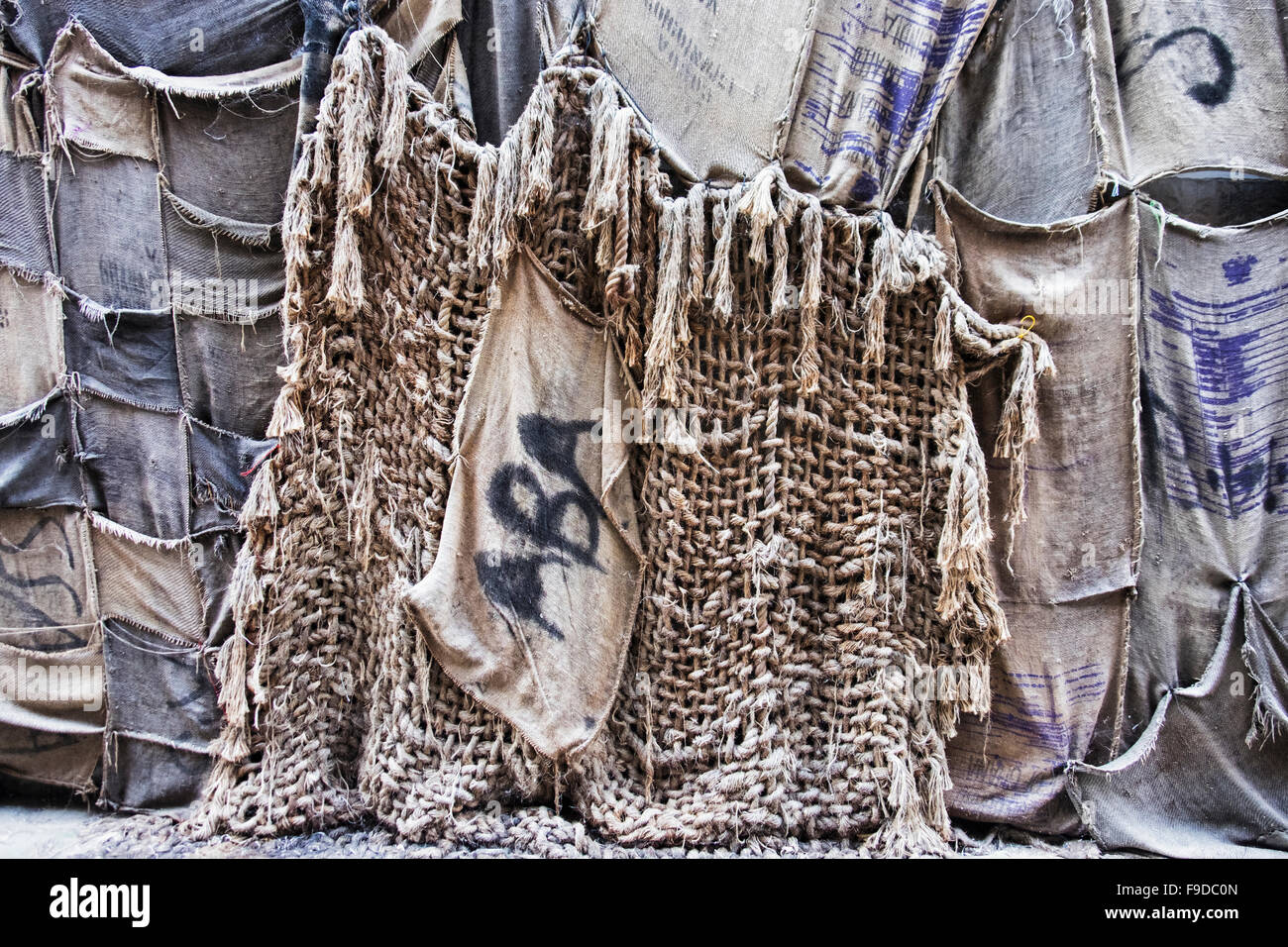 'Out of Bounds' huge artwork made of old sacks by Ibrahim Mahama  at the 2015 56th Venice Biennale.La Biennale - Stock Image