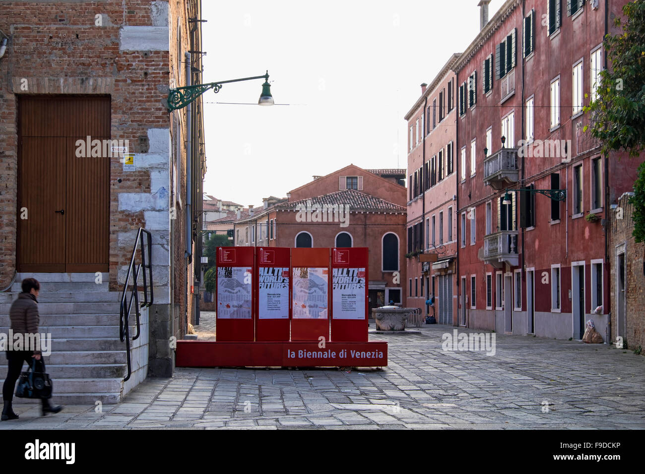 Venice, Castello. 2015 Venice Biennale Sign at entrance to Arsenale section of the International biennial art exhibition.La - Stock Image