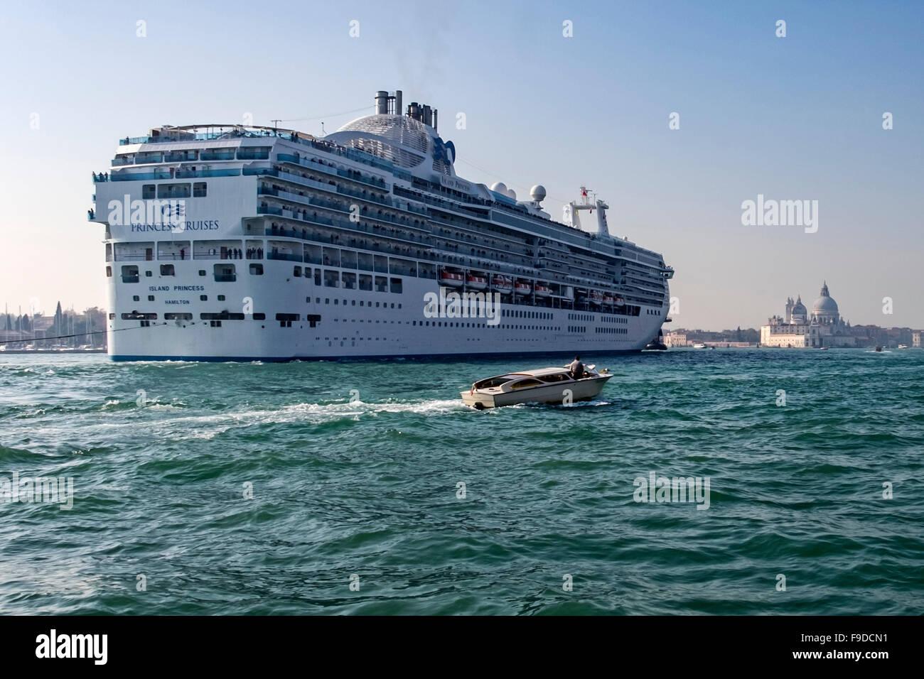 Venice, Italy - Princess cruises cruise ship arriving with view of church, Basilica di Santa Maria della Salute - Stock Image