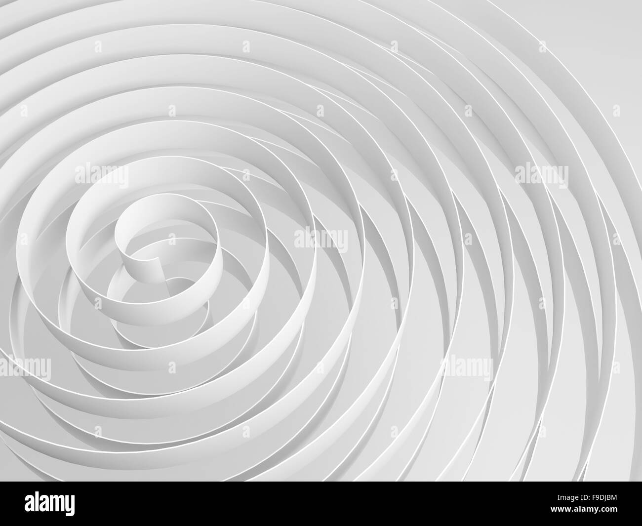 White 3d spirals with soft shadows, abstract digital illustration, monochrome background pattern - Stock Image